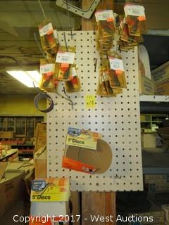 Bulk Lot: Pegboard Rack with Contents: Cylinder Rotary Rasps and Sandpaper Discs