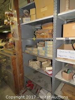 Bulk Lot: Contents of (6) Shelves: Sandpaper Discs, Knotted Wirs End Brushes, Sledgehammer Heads, Garnet Cloth Belts