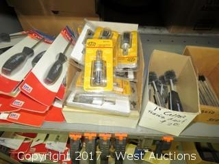 Shelf of Various Tools and Hardware: Screwdrivers, Knotted Wire End Brushes, Copper Tubing Brushes, Acid Brushes,