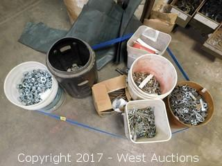 Bulk Lot: Various Hardware: Hex Nuts, Washer, Hex Bolts, Plus More