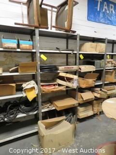 Contents of Rack: (2) Wood Arm Chairs, Coils of Rubber Tubing and Various Boxes
