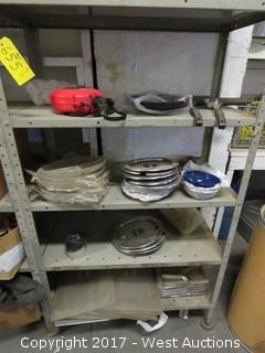 Contents of Rack: (1) Insulated Canteen, (1) Plastic Gold Pan, (10+) Metal  Trays and  Various Lids