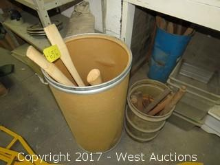 Bulk Lot: (3) Axe Handles, (1) Canister of Various Wreches