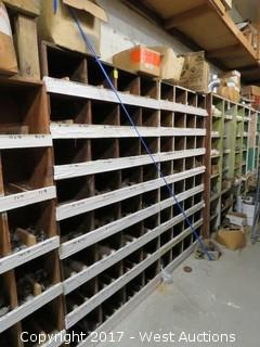 Shelves of Various Pipe Fittings, Elbows, Caps, Flanges, Plus More