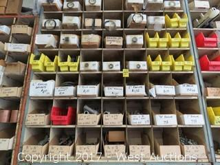 Shelves and Contents: Various Kamlok Washers, Lok-Nipples, Oxy-Acetylene Nuts, Plus More