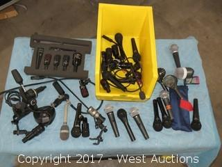 Bulk Lot: Organizer of Aprox. (14+) Microphones and Accessories