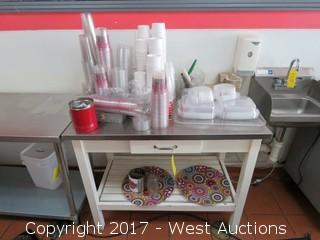 Stainless Steel Top Table 3' x2.5' with Contents