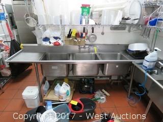 3-Basin Stainless Steel Dishwashing Sink 9'