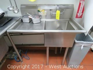 Green World TSA-1-L1 3' Stainless Steel Dish Washing Sink
