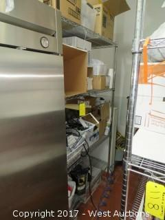 7' Metro Rack with Assorted Restaurant Accessories