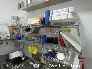 (2) 6' Wall Mounted Wire Shelves with Entire Contents of Dishware