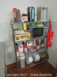 4' Metro Rack with Microwave and Contents of Perishable Goods
