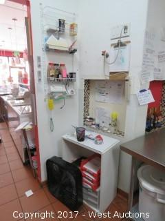Cabinet and Wall Mounted Rack with contents