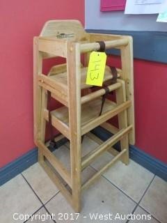 (2) Wooden Baby High Chairs