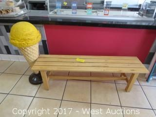 Wood Bench with 3' Tall Ice Cream Display