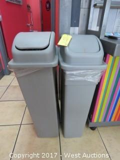 (2) Commercial Plastic Trash Containers