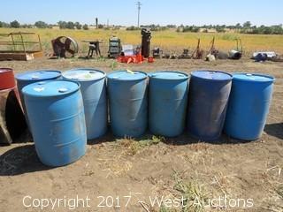 (7) 200 Gallon Plastic Barrels