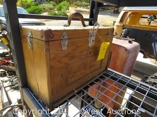 (1) Union Wooden Tool Box with Misc. Woodworking Tools