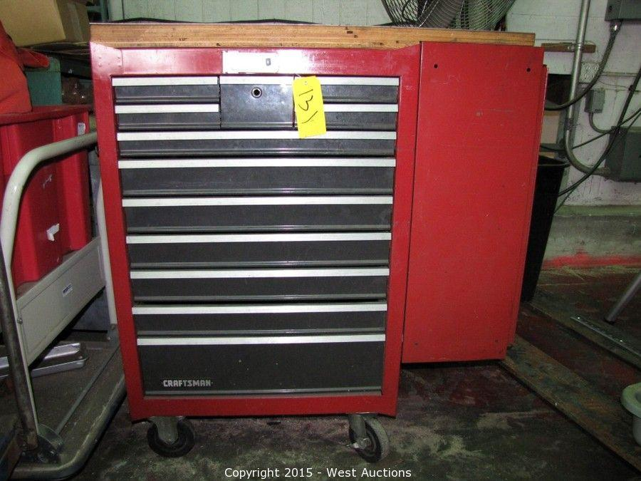 Lot #0131 Craftsman 12 Drawer Rolling Tool Chest With Side Cabinet