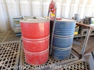 (2) 55 Gallon Barrels of velocity Menthol and 32 Pump Test Oil with Tothill Manual Pump