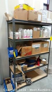 Rack with Filter Cleaners, Detergents, Sealants and Parts