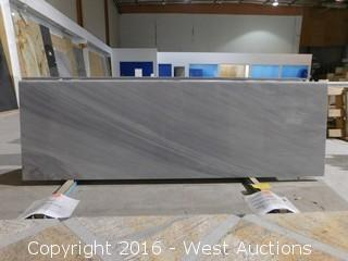 "(1) 81.5""x26"" Pre-Fabricated Gray and White Marble Countertop"