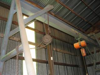 Metal A-Frame with (1) Electic Chain Hoist and (1) Manual Chain Hoist