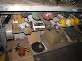 Metal Racking and Contents of Bottom Shelf