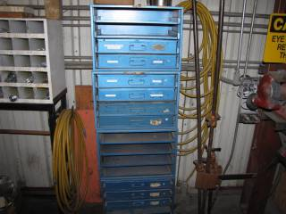 (4) Metal Blue Storage Cases W/ Pull Out Drawers and Contents