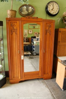 French 1930 Oak 3 Door Armoire with Beveled Mirror