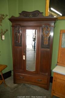 Walnut Carved Robe with Beveled Mirror Door