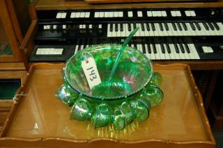 Punch Bowl w/ 12 Cups and Serving Spoon - Green Carnival Glass
