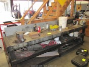 Wood Bench with Vises, Air Hoses, Clamps & More