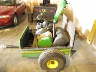 John Deere 220 B Mower with John Deere 22 Utility Trailer