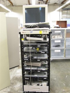 Rack with (3) IBM E Server XSeries 336 (1) IBM E Server XSeries 345, Monitors and Keyboards