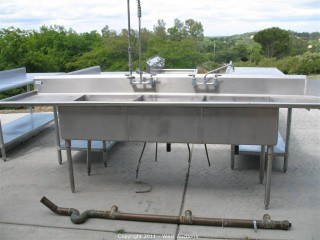 Stainless Steel Triple Restaurant Sink and Washboards on Legs
