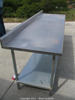 Stainless Steel Commercial Work Prep Table with Back Splash - 8' Long