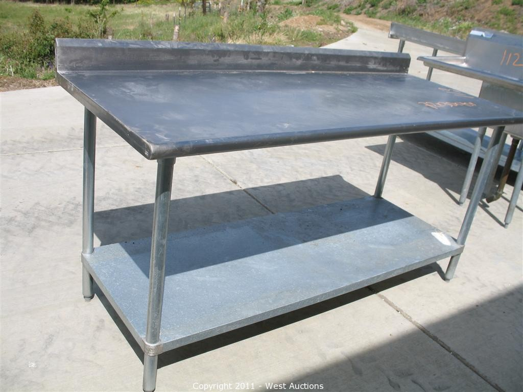 West Auctions Auction Pizza Restaurant Equipment And Furniture In - Restaurant equipment stainless steel table