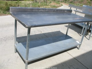 Stainless Steel Commercial Work Prep Table with Back Splash - 6' Long