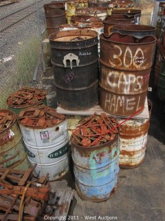 Contents of (48) Barrels - Clamps, Pickle Forks, Osha Caps and Pins
