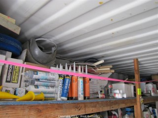 Contents of 10' Long Shelf - Signs, Safety Helmets, Tyvek Suits and Much More