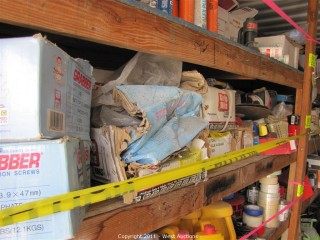 Contents of 10' Long Shelf - Hilti Powder Guns, Nails, Screws, Strips and Much More