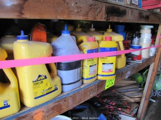 Contents of 10' Long Shelf - Marking Chalk, Caution Tape and Much More