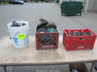 (3) Buckets / Bins with of Angle Grinder Wheels and Brushes