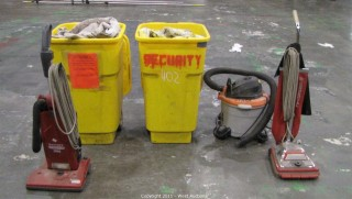 Variety Lot - (3) Vacuums, (2) Garbage Cans, Absorbent Material