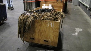 Variety Lot - 3-Compartment Bin on Wheels, Assortment of Rope