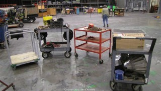 Variety Lot - Material Carts, Hoist, Ballasts, Rolls of Plastic, Rope