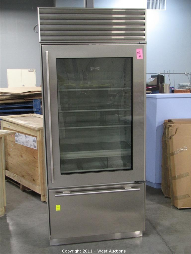 Sub Zero Glass Door Refrigerator west auctions - auction: executive office furniture and
