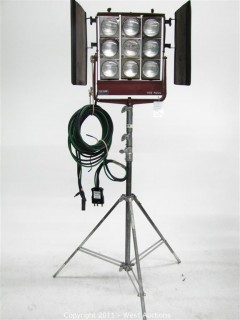 Mole Richardson Type 5541 Molequartz Nine Light Molefay on Junior Combo Stand