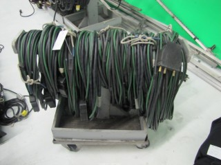(7) 100 Amp Bates Welding Wire Extension Cords on Cart